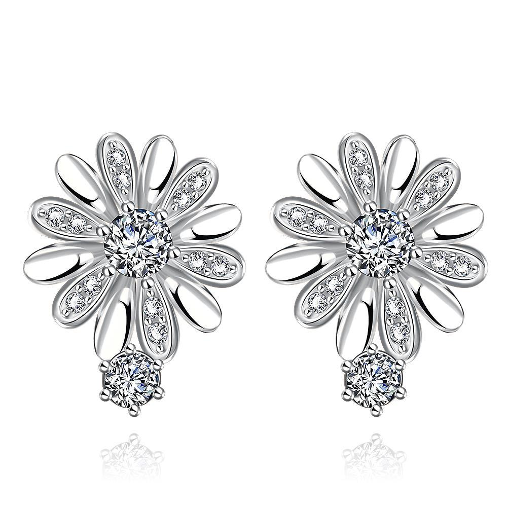 Vienna Jewelry White Gold Plated Floral Petal Stud Earrings