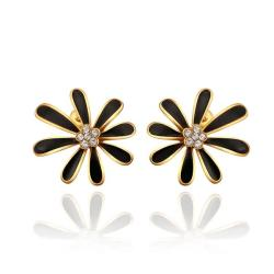 Vienna Jewelry 18K Gold Floral Petal Studs with Onyx Covering Made with Swarovksi Elements - Thumbnail 0