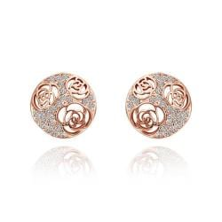 Vienna Jewelry 18K Rose Gold Laser Cut Stud Earrings Made with Swarovksi Elements - Thumbnail 0