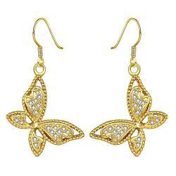 Vienna Jewelry Gold Plated Butterflies Drop Down Earrings - Thumbnail 0