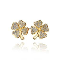 Vienna Jewelry 18K Gold Mini Clover Stud Earrings Made with Swarovksi Elements - Thumbnail 0