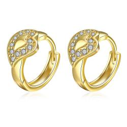 Vienna Jewelry Gold Plated Abstract Blingy Emblem Mini Hoops