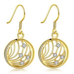 Vienna Jewelry Gold Plated Laser Cut Wire Jewels Drop Down Earrings - Thumbnail 0