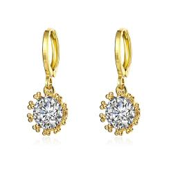 Gold Plated Crystal Jewel Clip-On Drop Earrings - Thumbnail 0