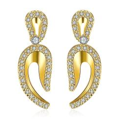Gold Plated Lucky Horseshoe Drop Earrings - Thumbnail 0