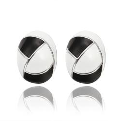 Vienna Jewelry 18K White Gold Inline Acorn Shaped Onyx & Ivory Stud Earrings Made with Swarovksi Elements - Thumbnail 0