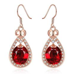 Vienna Jewelry 18K Rose Gold Drop Down Earrings with Ruby Gem Made with Swarovksi Elements