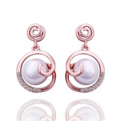 Vienna Jewelry 18K Rose Gold Abstract Circular Pearl Earrings Made with Swarovksi Elements