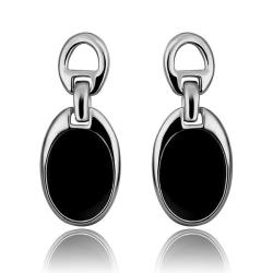 Vienna Jewelry 18K White Gold Studs with Onyx Covering Made with Swarovksi Elements