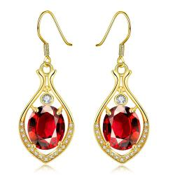 Gold Plated Grape Vine Drop Earrings with Ruby Gem - Thumbnail 0