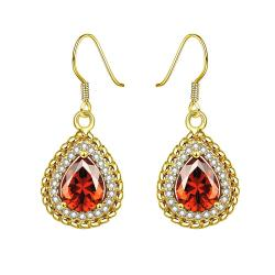 Gold Plated Ruby Gem Encrusted Drop Down Earrin gs