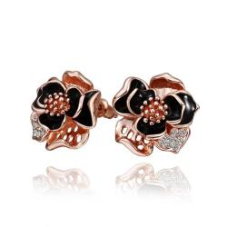 Vienna Jewelry 18K White Gold Onyx Covered Rose Petals Stud Earrings Made with Swarovksi Elements - Thumbnail 0