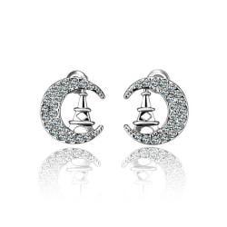 Vienna Jewelry 18K White Gold Night In Paris Studs Made with Swarovksi Elements