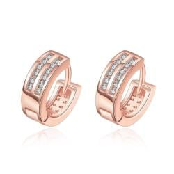 Vienna Jewelry Rose Gold Plated Crystal Lined Mini Hoop Earrings - Thumbnail 0