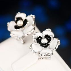 Vienna Jewelry 18K White Gold Floral Onyx Stud Earrings Made with Swarovksi Elements - Thumbnail 0
