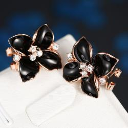 Vienna Jewelry 18K Rose Gold Classic Onyx Rose Petal Earrings Made with Swarovksi Elements - Thumbnail 0