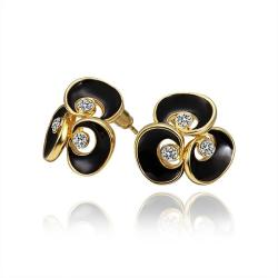 Vienna Jewelry 18K Gold Floral Stud Earrings with Onyx Covering Made with Swarovksi Elements - Thumbnail 0