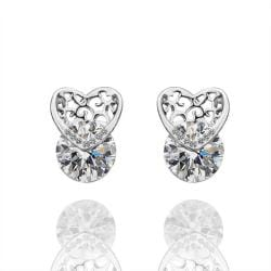 Vienna Jewelry 18K White Gold Laser Cut Heart Earrings Made with Swarovksi Elements - Thumbnail 0