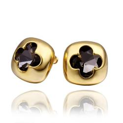 Vienna Jewelry 18K Gold Stud Earrings with Hollow Clover Shape Made with Swarovksi Elements - Thumbnail 0