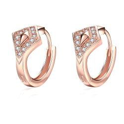 Vienna Jewelry Rose Gold Plated Diamond Shaped Encrusted Mini Hoop Earrings - Thumbnail 0