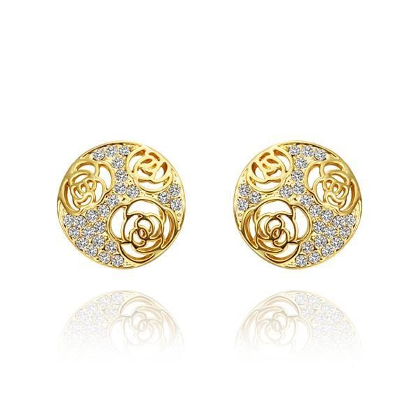 Vienna Jewelry 18K Gold Laser Cut Stud Earrings Made with Swarovksi Elements