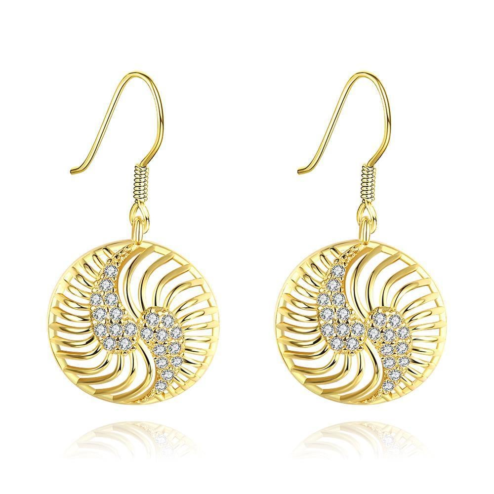 Vienna Jewelry Gold Plated The Circle of Love Drop Down Earrings