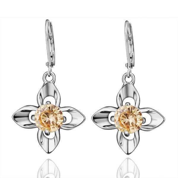 Vienna Jewelry 18K White Gold Citrine Gem Earrings Made with Swarovksi Elements