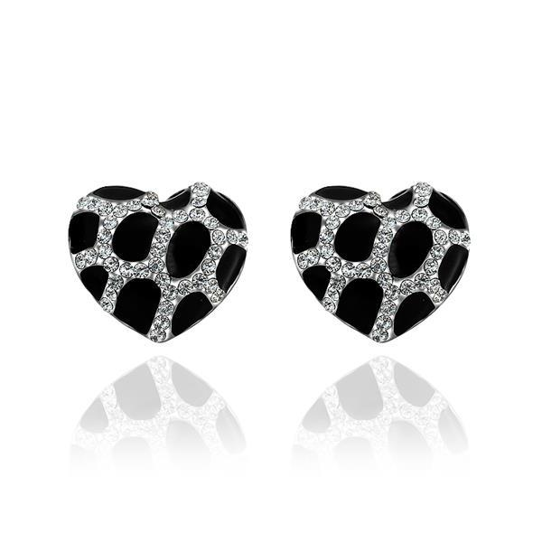 Vienna Jewelry 18K White Gold Heart Shaped Onyx Gem Stud Earrings Made with Swarovksi Elements