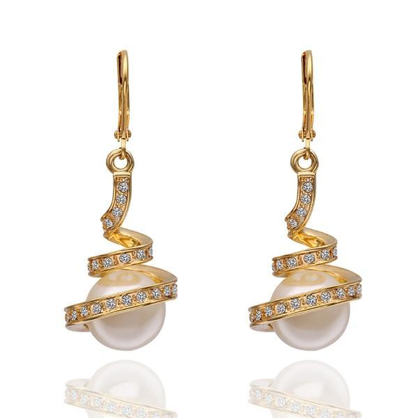 Vienna Jewelry 18K Gold Spiral Drop Down Earrings with Pearl Made with Swarovksi Elements