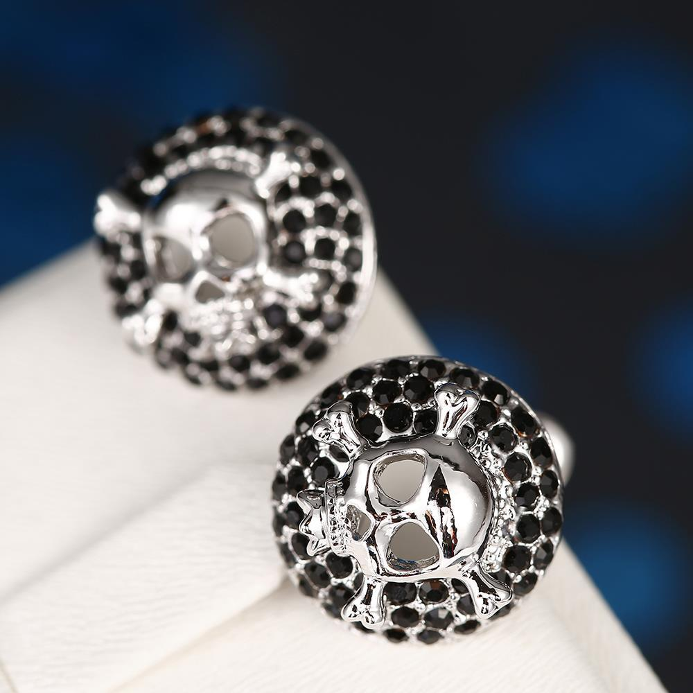 Vienna Jewelry 18K White Gold Skull & Bones Stud Earrings Made with Swarovksi Elements