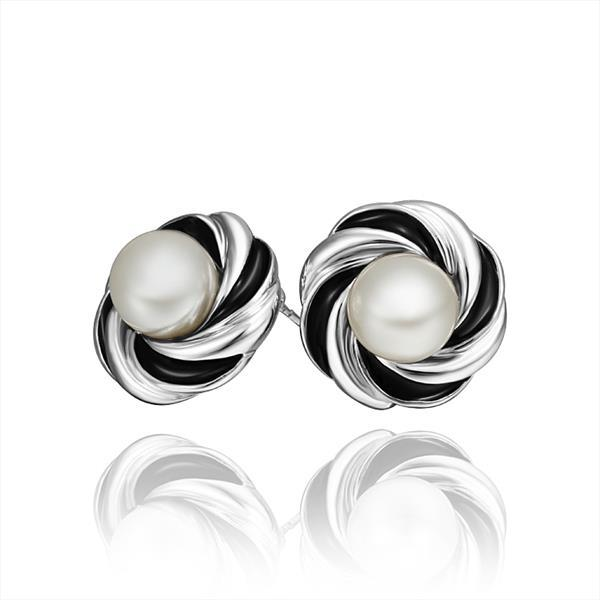 Vienna Jewelry 18K White Gold Spiral Stud Earrings with Pearl Center Made with Swarovksi Elements