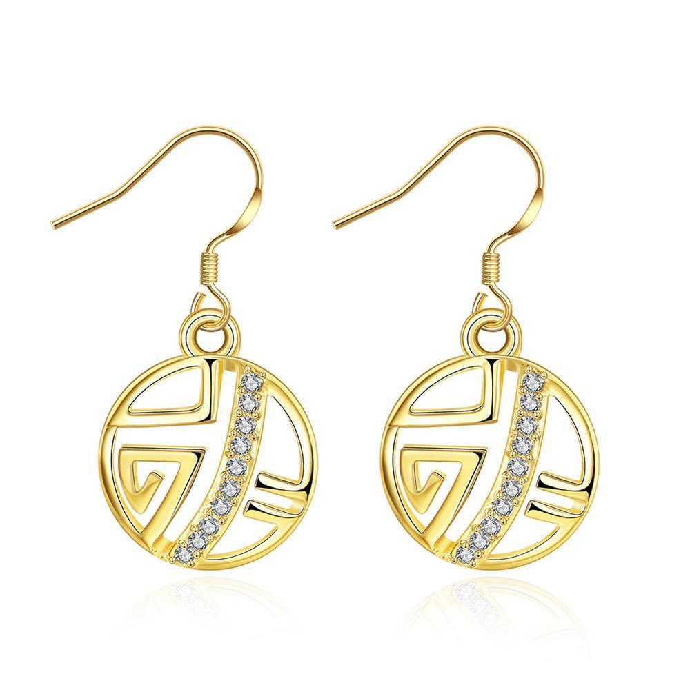 Vienna Jewelry Gold Plated Laser Cut Circular Artistic Drop Down Earrings