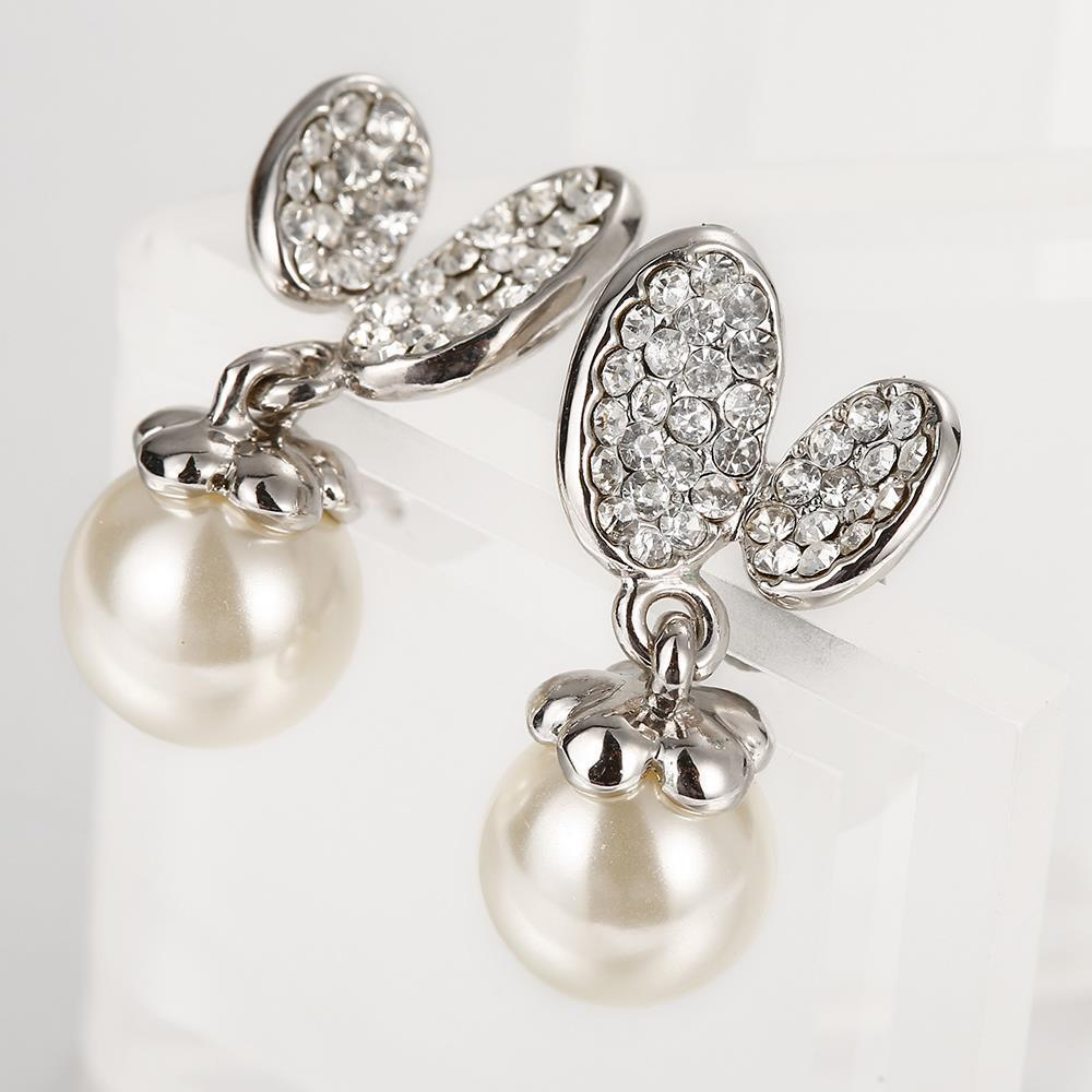 Vienna Jewelry 18K White Gold Drop Down Earrings with Pearl Made with Swarovksi Elements