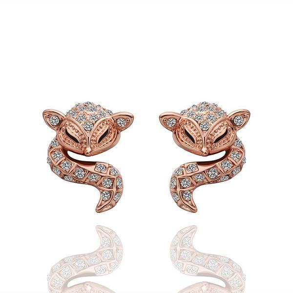 Vienna Jewelry 18K Rose Gold Spiral Cat Drop Down Earrings Made with Swarovksi Elements