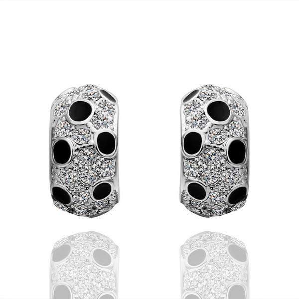 Vienna Jewelry 18K White Gold Covered with Onyx Jewels Earrings Made with Swarovksi Elements