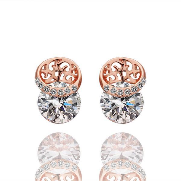 Vienna Jewelry 18K Rose Gold Laser Cut Circle Earrings Made with Swarovksi Elements