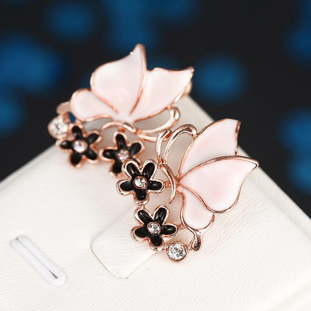 Vienna Jewelry 18K Rose Gold Ivory Wings Stud Earrings Made with Swarovksi Elements