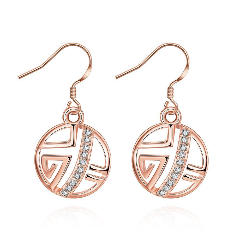 Vienna Jewelry Rose Gold Plated Laser Cut Circular Artistic Drop Down Earrings