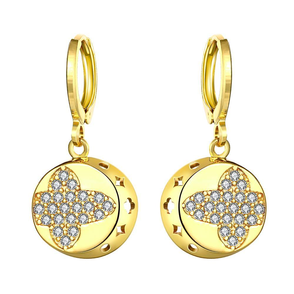 Gold Plated Mini Cross Circular Drop Earrings