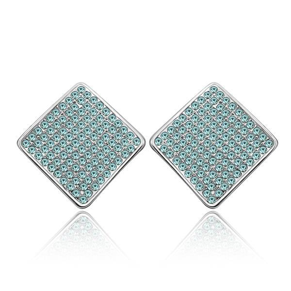 Vienna Jewelry 18K White Gold Square Studs with Saphire Jewels Made with Swarovksi Elements
