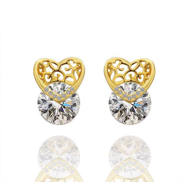 Vienna Jewelry 18K Gold Laser Cut Heart Earrings Made with Swarovksi Elements