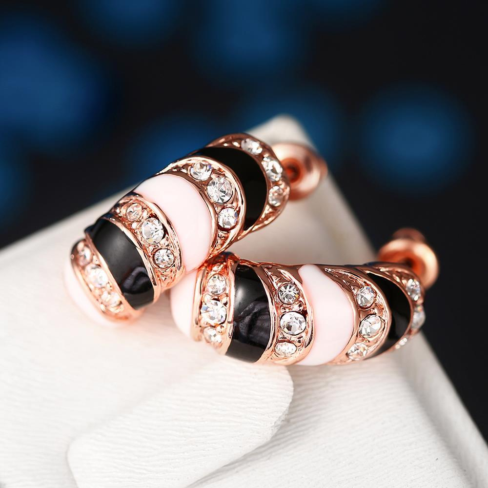 Vienna Jewelry 18K Rose Gold Horizontal with Ivory Gems Earrings Made with Swarovksi Elements