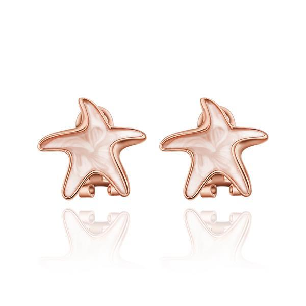 Vienna Jewelry 18K Rose Gold Starfish Shaped Stud Earrings Made with Swarovksi Elements