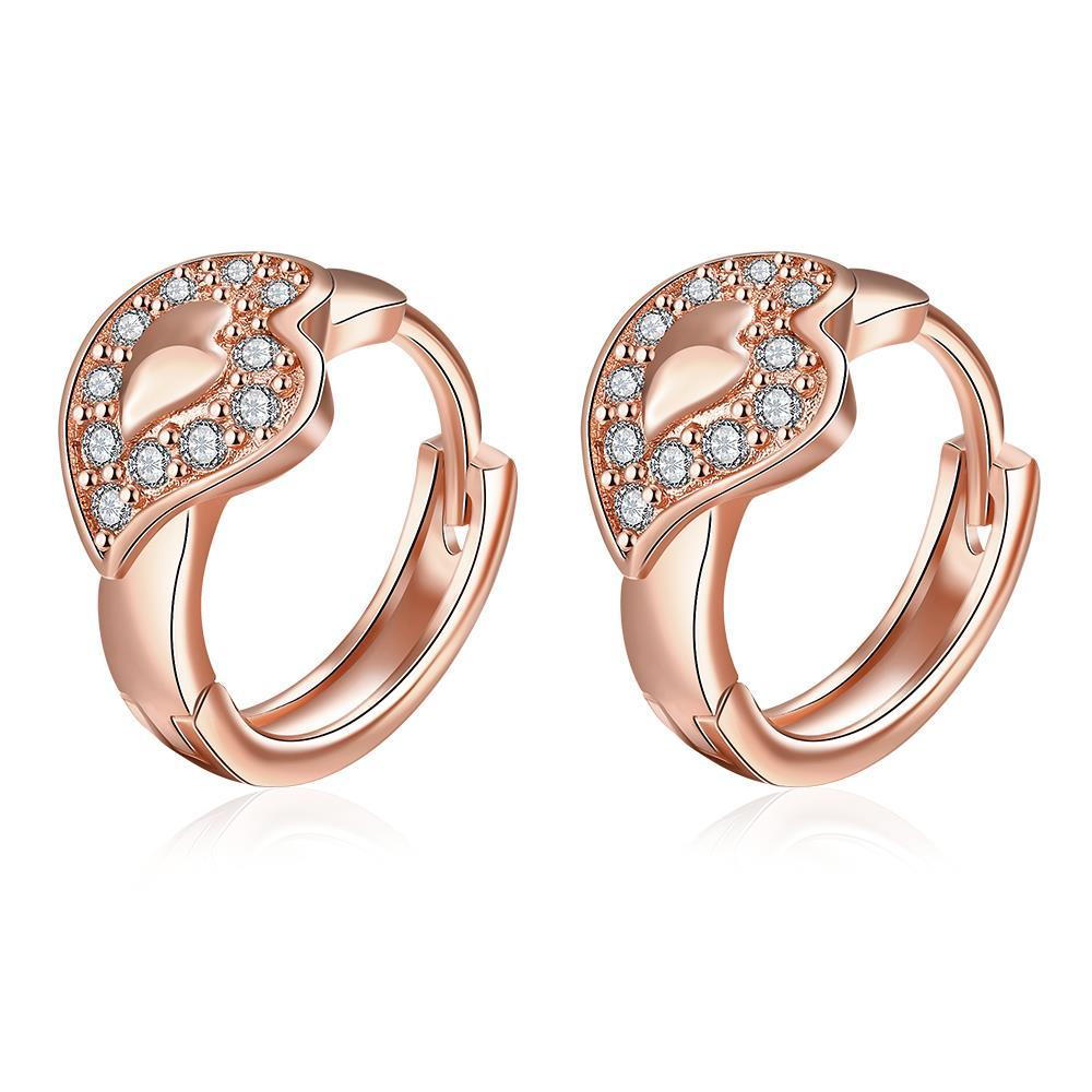 Vienna Jewelry Rose Gold Plated Abstract Blingy Emblem Mini Hoops