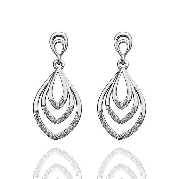 Vienna Jewelry 18K White Gold Hollow Spiral Drop Down Earrings Made with Swarovksi Elements