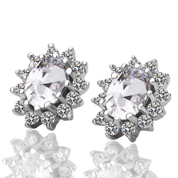 Vienna Jewelry 18K White Gold Earrings with Ivory Gem Made with Swarovksi Elements