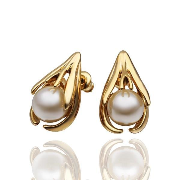 Vienna Jewelry 18K Gold Abstract Curved Stud Earrings with Pearl Centerpiece Made with Swarovksi Elements