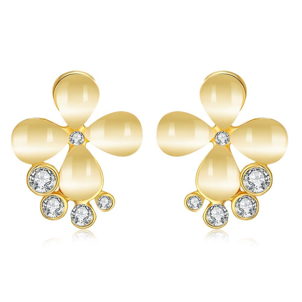 Vienna Jewelry 18K Gold Clover Stud Earrings Made with Swarovksi Elements