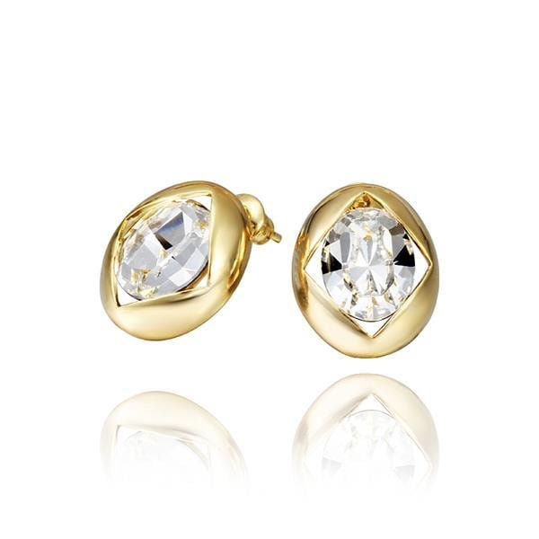 Vienna Jewelry 18K Gold Round Stud Earrings with Crystal Centerpiece Made with Swarovksi Elements