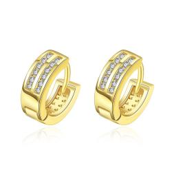 Vienna Jewelry Gold Plated Crystal Lined Mini Hoop Earrings - Thumbnail 0